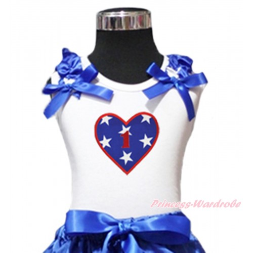 American's Birthday White Tank Top Patriotic American Star Ruffles Royal Blue Bow & 1st Birthday Number American Star Heart Print TB1128