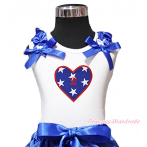 American's Birthday White Tank Top Patriotic American Star Ruffles Royal Blue Bow & 2nd Birthday Number American Star Heart Print TB1129