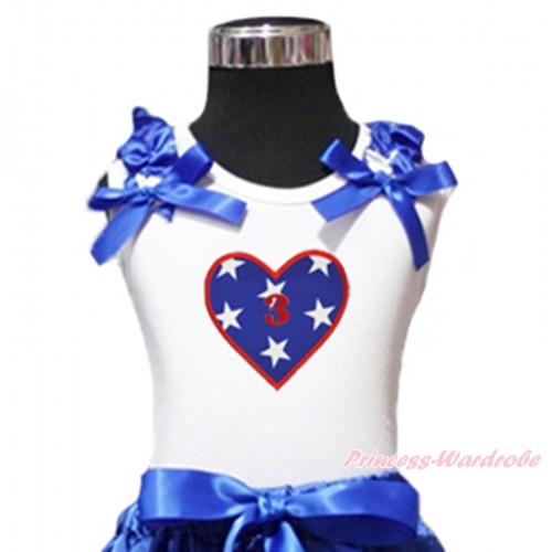 American's Birthday White Tank Top Patriotic American Star Ruffles Royal Blue Bow & 3rd Birthday Number American Star Heart Print TB1130