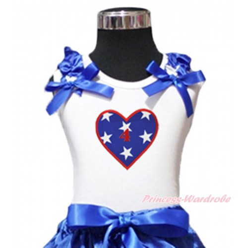 American's Birthday White Tank Top Patriotic American Star Ruffles Royal Blue Bow & 4th Birthday Number American Star Heart Print TB1131
