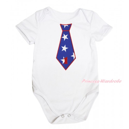 American's Birthday White Baby Jumpsuit & 1st Birthday Number American Star Tie Print TH574