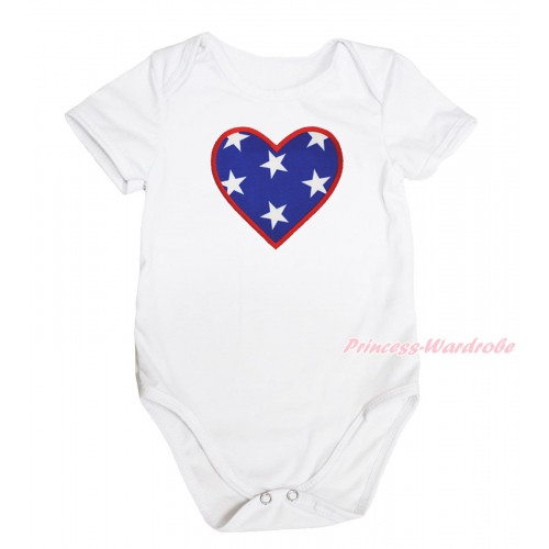 American's Birthday White Baby Jumpsuit & American Star Heart Print TH575