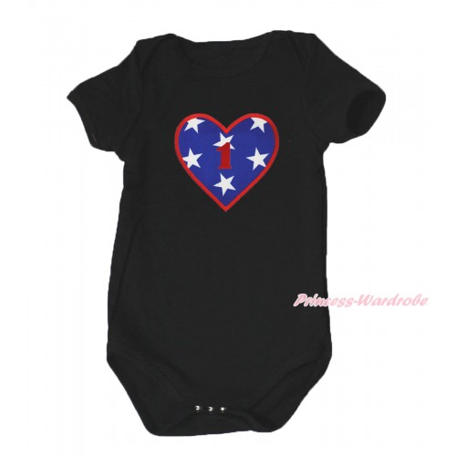 American's Birthday Black Baby Jumpsuit & 1st Birthday Number American Star Heart Print TH580