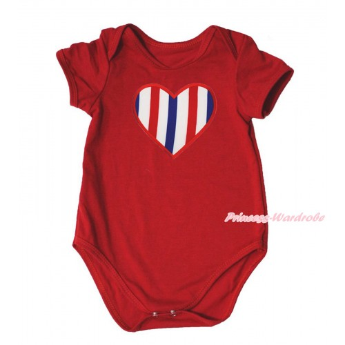 American's Birthday Red Baby Jumpsuit & Red White Blue Striped Heart Print TH581