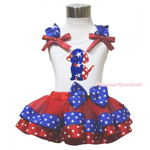 American's Birthday 4th July White Tank Top Star Ruffle Red White Dot Bow Dog Puppy Red Minnie Blue Patriotic Star Satin Trimmed Pettiskirt MG1646