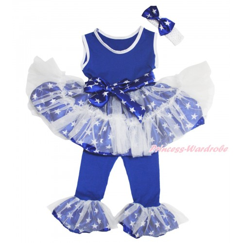 American's Birthday Royal Blue White Patriotic American Star Tutu Ruffles Tank Top & Pant Set & White Headband Star Satin Bow P015