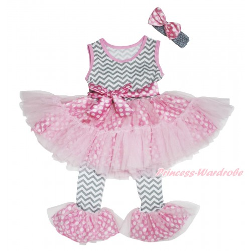 Grey White Chevron Pink White Dots Tutu Ruffles Tank Top & Pant Set & Grey Headband Pink White Dots Satin Bow P018