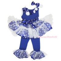 4th July Vintage Garden Rosettes Royal Blue White Patriotic American Star Tutu Ruffles Tank Top & Pant Set & White Headband Star Bow P019