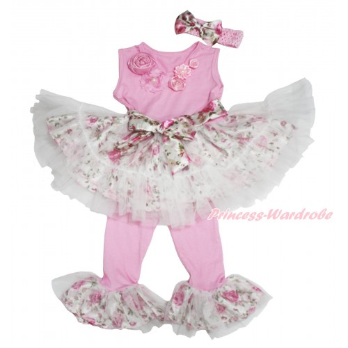 Pink Vintage Garden Rosettes Light Pink Rose Fusion Tutu Ruffles Tank Top & Pant Set & Light Pink Headband Rose Bow P021