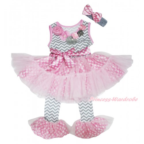 Grey Pink Vintage Garden Rosettes Grey White Chevron Pink White Dots Tutu Ruffles Tank Top & Pant Set & Grey Headband Dots Bow P022