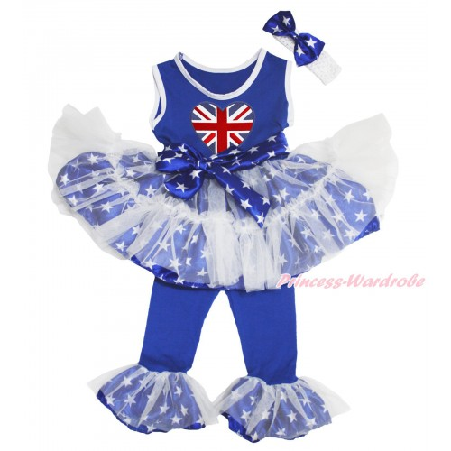 Royal Blue White Patriotic American Star Tutu Ruffles Tank Top & Patriotic British Heart Print & Pant Set & White Headband Star Bow P027