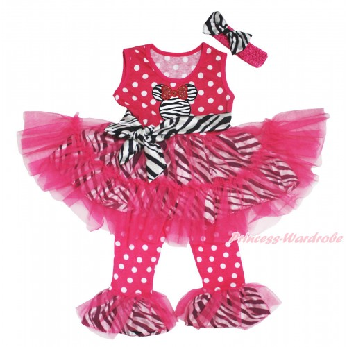 Hot Pink White Dots Zebra Tutu Ruffles Tank Top & Zebra Minnie Print & Pant Set & Hot Pink Headband Zebra Satin Bow P030