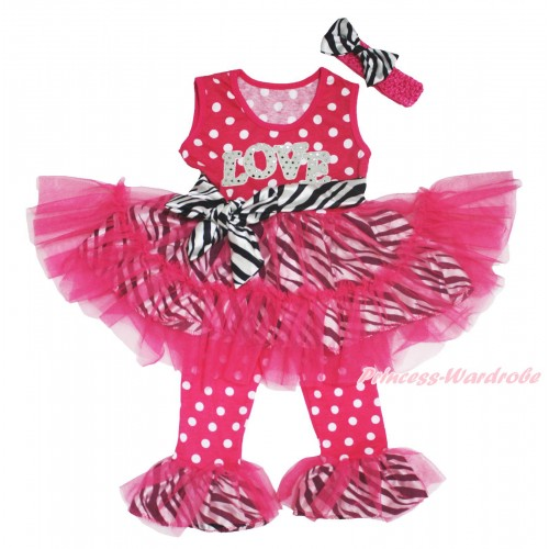 Valentine's Day Hot Pink White Dots Zebra Tutu Ruffles Tank Top & Sparkle White LOVE Print & Pant Set & Hot Pink Headband Zebra Satin Bow P031
