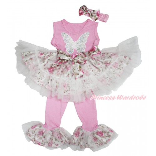 Light Pink Rose Fusion Tutu Ruffles Tank Top & Sparkle White Sequins Butterfly Print & Pant Set & Light Pink Headband Rose Satin Bow P032