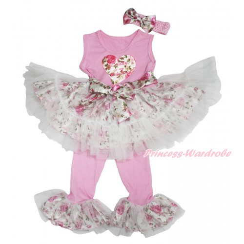 Valentine's Day Light Pink Rose Fusion Tutu Ruffles Tank Top & Daddy Is My Valentine Rose Heart Print & Pant Set & Light Pink Headband Rose Satin Bow P033