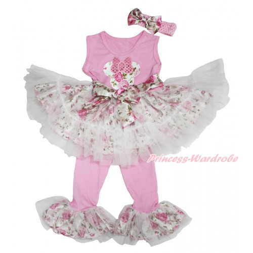 Light Pink Rose Fusion Tutu Ruffles Tank Top & Sparkle Light Pink Rose Minnie Print & Pant Set & Light Pink Headband Rose Satin Bow P034