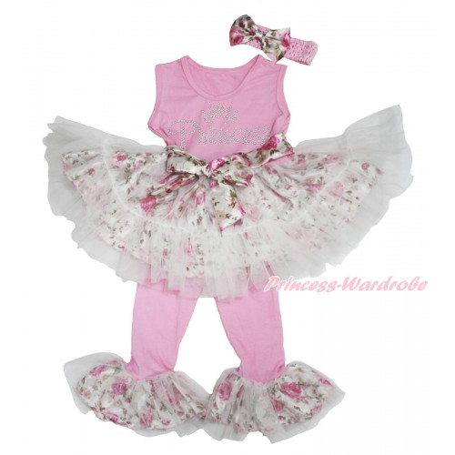 Light Pink Rose Fusion Tutu Ruffles Tank Top & Rhinestone Princess Print & Pant Set & Light Pink Headband Rose Satin Bow P035