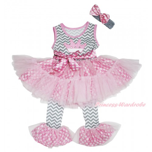Grey White Chevron Pink White Dots Tutu Ruffles Tank Top & Crown Print & Pant Set & Grey Headband Pink White Dots Satin Bow P038