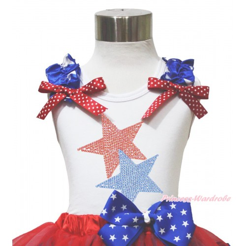 American's Birthday 4th July White Tank Top Patriotic Star Ruffle Red White Dot Bow Sparkle Rhinestone Twin Star TB1140