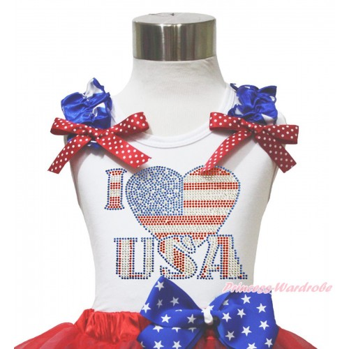 American's Birthday 4th July White Tank Top Patriotic Star Ruffle Red White Dot Bow Sparkle Rhinestone I LOVE USA TB1141