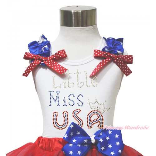 American's Birthday 4th July White Tank Top Patriotic Star Ruffle Red White Dot Bow Sparkle Rhinestone Little Miss USA TB1143
