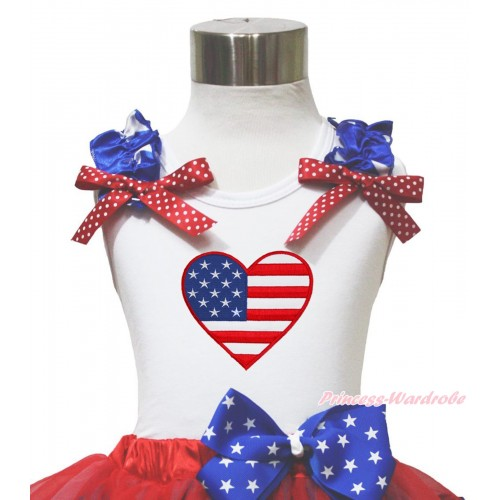 American's Birthday 4th July White Tank Top Patriotic Star Ruffle Red White Dot Bow USA Heart TB1144