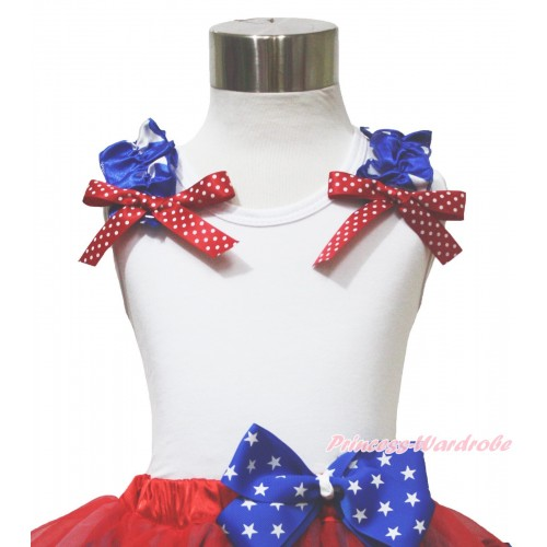 American's Birthday 4th July White Tank Top Patriotic Star Ruffles & Red White Dot Bow TB1145