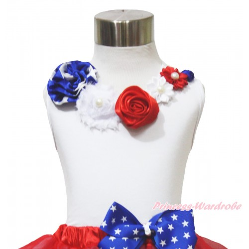 American's Birthday 4th July White Tank Top Patriotic Star Satin Pearl Flower Rosettes Lacing TB1146