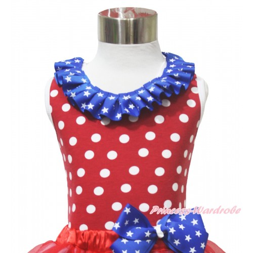 4th July Red White Dot Minnie Tank Tops & Patriotic American Star Satin Lacing TP268