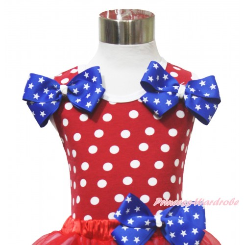 4th July Red White Dot Minnie Tank Tops & Patriotic American Star Satin Twin Bow TP269
