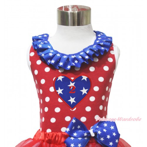 4th July Red White Dot Minnie Tank Tops Patriotic American Star Satin Lacing & 2ND Birthday Heart Print TP271