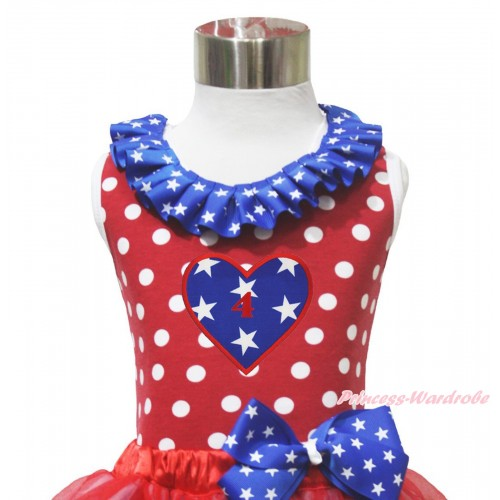 4th July Red White Dot Minnie Tank Tops Patriotic American Star Satin Lacing & 4TH Birthday Heart Print TP273