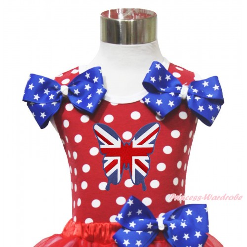 4th July Red White Dot Minnie Tank Tops Patriotic American Star Satin Twin Bow & British Butterfly Print TP277