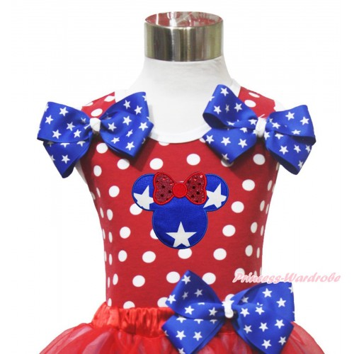 American's Birthday 4th July Red White Dot Minnie Tank Tops Patriotic Star Satin Twin Bow & Minnie TP278