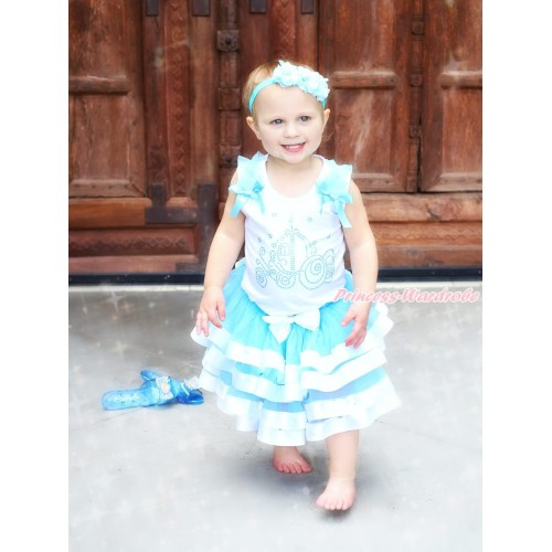 White Tank Top Light Blue Ruffles & Bows & Sparkle Rhinestone Cinderella Carriage & Light Blue White Trimmed Pettiskirt MG1613