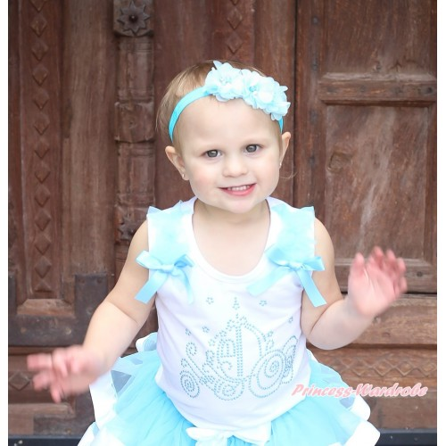 White Tank Top Light Blue Ruffles & Bow & Sparkle Rhinestone Cinderella Carriage Print TB1115