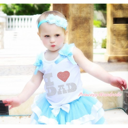 White Tank Top Light Blue Ruffles & Bow & Sparkle Rhinestone I Love Dad Print TB1126