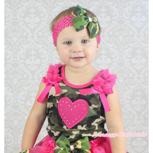 Valentine's Day Camouflage Tank Top Hot Pink Ruffles & Bow & Hot Pink Heart Print TB1194