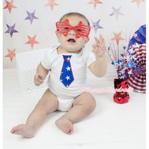 American's Birthday White Baby Jumpsuit & American Star Tie Print TH573