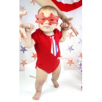 American's Birthday Red Baby Jumpsuit & Red White Blue Striped Tie Print TH582