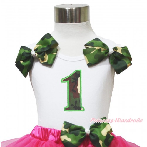 White Tank Top Twin Camouflage Bows 1st Camouflage Birthday Number Print TB1158