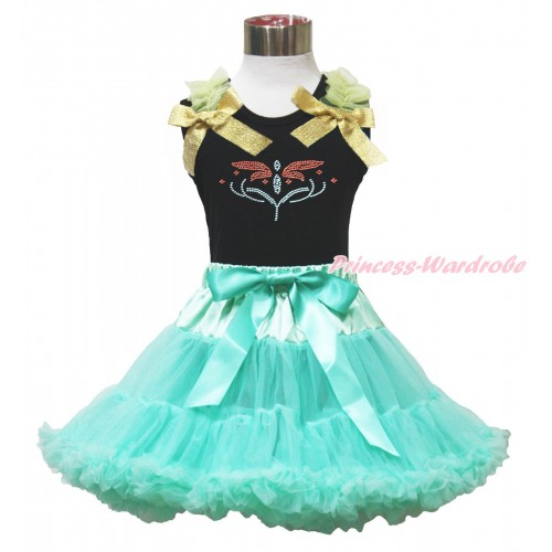 Black Tank Top Yellow Ruffles Sparkle Goldenrod Bow & Rhinestone Princess Anna Fever & Aqua Blue Pettiskirt MG1655