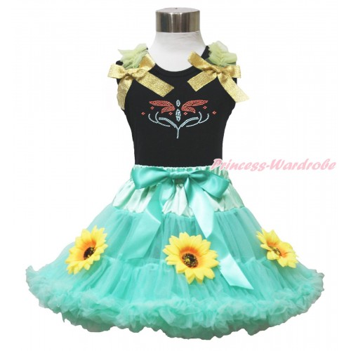 Black Tank Top Yellow Ruffles & Sparkle Goldenrod Bow & Rhinestone Princess Anna Fever & Summer Sunflowers Aqua Blue Pettiskirt MG1659
