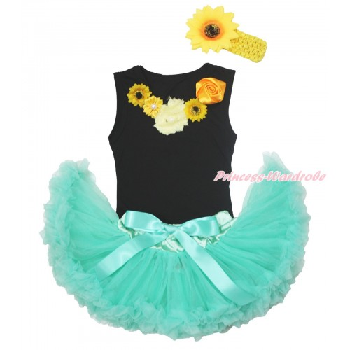 Black Baby Pettitop Summer Yellow Satin Vintage Garden Rose Pearl Rosettes Sunflower Lacing & Aqua Blue Newborn Pettiskirt NG1692