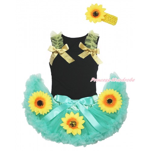 Black Baby Pettitop Yellow Ruffles Sparkle Goldenrod Bow & Summer Sunflowers Aqua Blue Newborn Pettiskirt NG1697