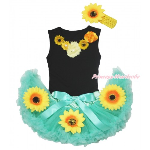 Black Baby Pettitop Satin Vintage Garden Rose Pearl Rosettes Lacing & Summer Sunflowers Aqua Blue Newborn Pettiskirt NG1705