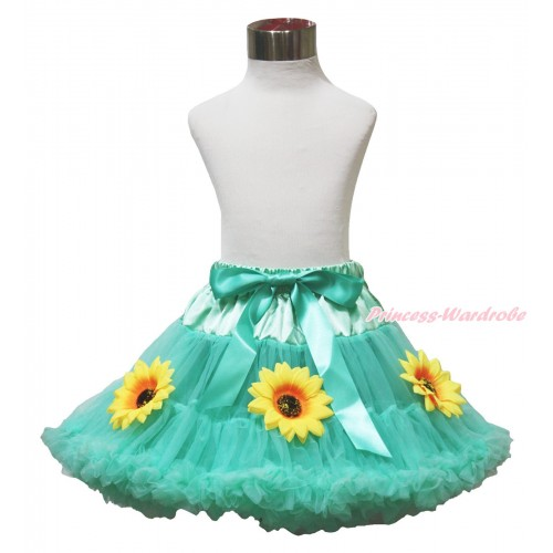 Princess Anna Summer Sunflower Aqua Blue Adult Pettiskirt XXXL P209