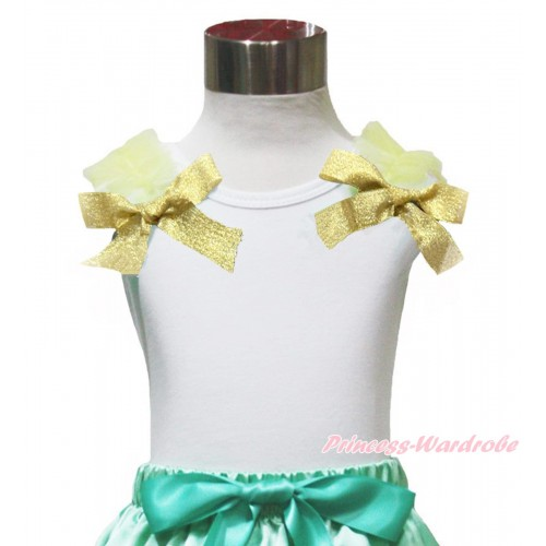 Princess Anna White Tank Top Yellow Ruffles & Sparkle Goldenrod Bow TB1150