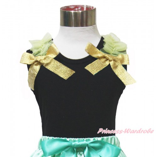 Princess Anna Black Tank Top Yellow Ruffles & Sparkle Goldenrod Bow TB1151