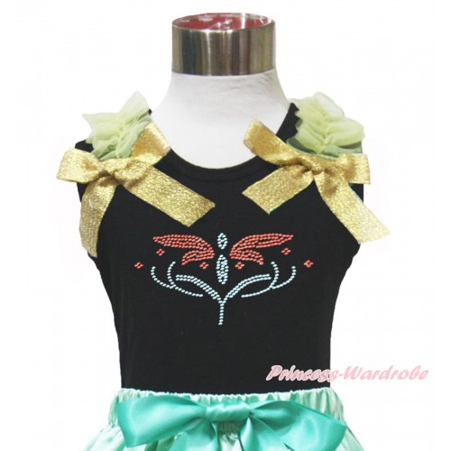 Black Tank Top Yellow Ruffles & Sparkle Goldenrod Bow Rhinestone Princess Anna Fever TB1152